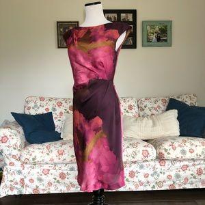 Suzi Chin Purple Water Color Print Sheath Dress, 2